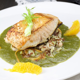 Salmon On A White Bean, Fennel And Orange Salad And Spinach Sauce