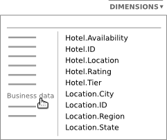 The dimension list displays all columns you