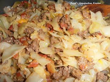 Cheesy Ground Beef and Cabbage Skillet