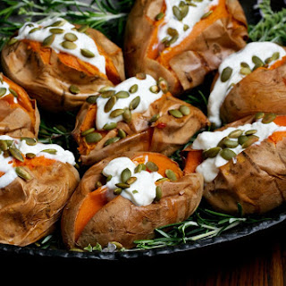 Roasted Sweet Potatoes with Sour Cream + Toasted Pumpkin Seeds Recipe