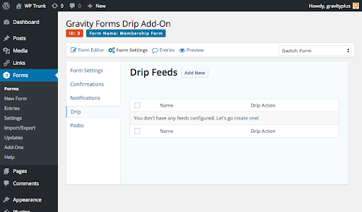 Drip and Gravity Forms Integration Screenshot