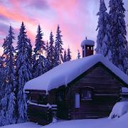 winter cabin wallpaper