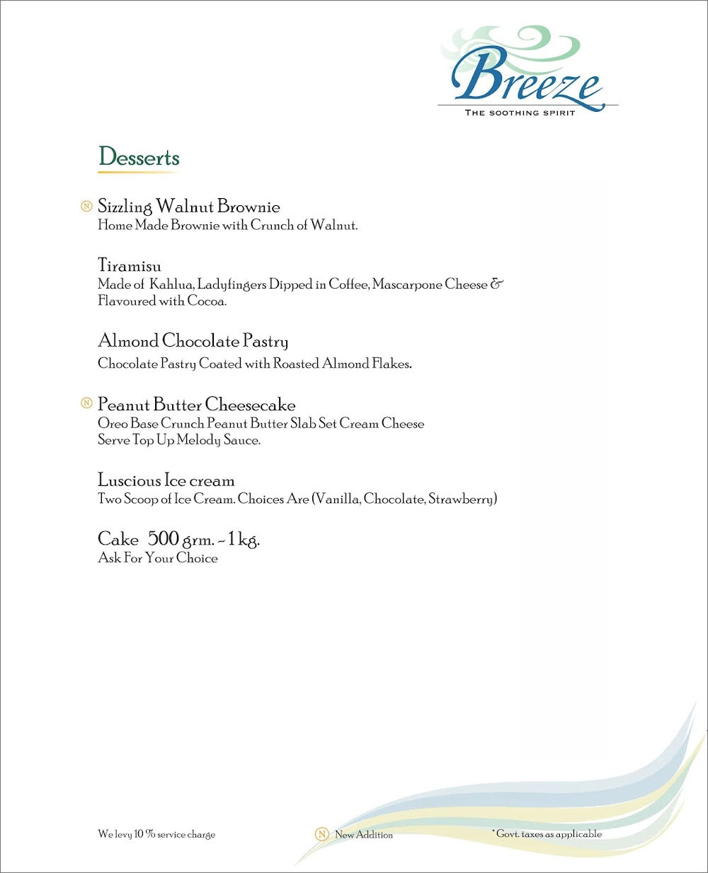 Breeze Lounge menu 2