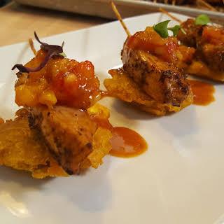 Jerk Chicken Kebab With Mango Salsa.