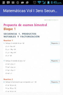 Matemáticas Vol I Tercero Sec- screenshot thumbnail