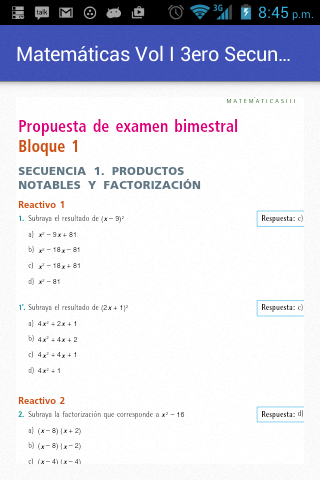 Matemáticas Vol I Tercero Sec- screenshot