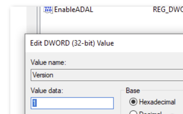 Double-click on the Version value, set the Base to Hexadecimal and Value data to 1.