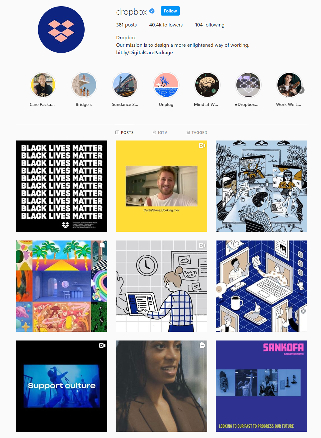 instagram profile example from dropbox