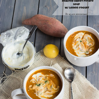 Roasted Sweet Potato Soup with Lemon Yoghurt