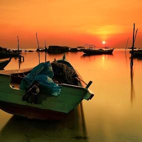Sunset Boat by Ina Herliana Koswara - Transportation Boats ( sunset, beach, long exposure, water, boat )