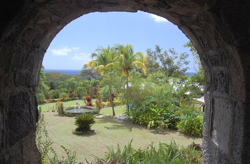 The view from inside Romney Manor on St. Kitts, part of a day trip on the scenic island.