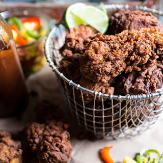 Almond Buttermilk Jamaican Fried Chicken with Rum-Pickled Pineapple Slaw.