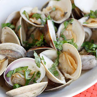 Steamed Clams with Fresh Basil.