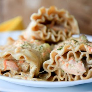 Salmon Parmesan Lasagna Rollups.