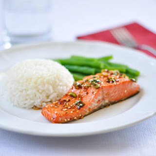 Salmon with a Spicy Garlic Sauce.