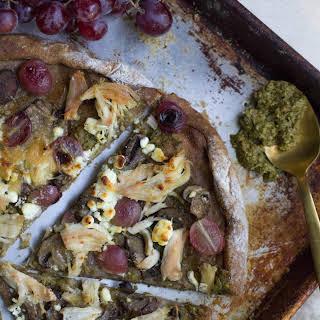 Healthier Chicken Pesto Grape Pizza.