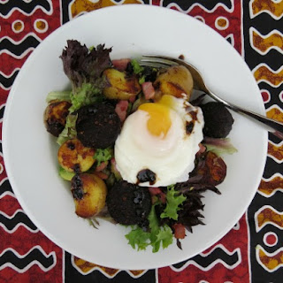 Black Pudding, Bacon and Potato Salad with a Poached Egg