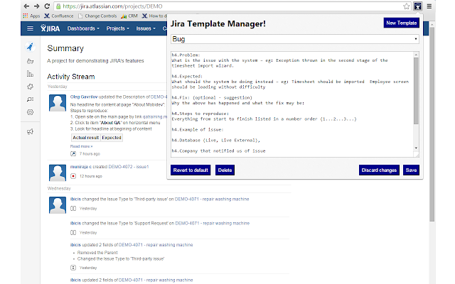 Jira Template Manager