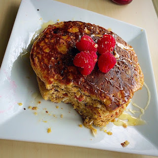 Raspberry Honey Drizzle Cornmeal Pancakes