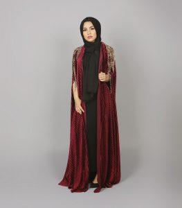 ruby velvet cape abaya 2