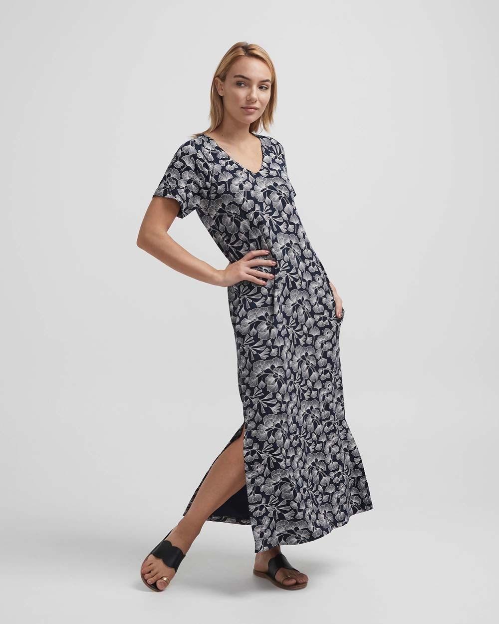 Holebrook Melanie kaftan dress navy ginko