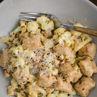 White Bean Gnocchi with Pan-Fried Cauliflower and Cream Sauce.