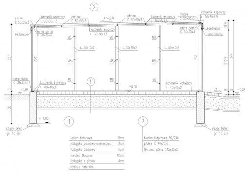 GB7 Garaż Blaszany otynkowany - Przekrój