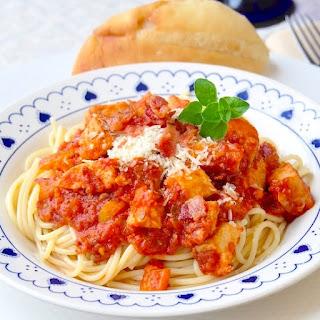 Leftover Chicken and Bacon Spaghetti