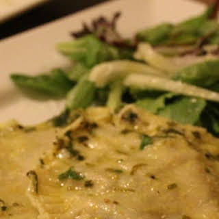 Mushroom and Spinach Ravioli with Chive Butter Sauce.