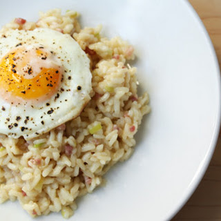 Leek and Pancetta Risotto with Fried Egg