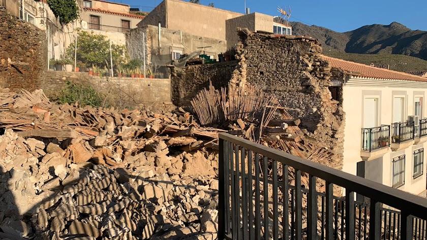 La estructura después del derrumbamiento.