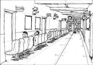 Photo: 醫療中心2010.09.01鉛筆+鋼筆 衛生科是監獄的醫療重鎮,只是…在監內礙於戒護人力、醫師的駐診意願、經費、長官的心態、法務部的政策等因素,在我看這樣的醫療品質,其實是不及格的… 看病的收容人,必須照單位分批帶到,為了戒護安全的考量,等候看診時坐的座位是面牆的,然後依叫號一次一人進入診間看病。 為了把透視的畫面畫好一些,於是將上一張的原子筆速寫重新謄過,還先用鉛筆打底,雖然細節是出來了,結果畫面反而單調呆板,這也是為什麼我不喜歡看照片作畫,而寧可臨場速寫的原因之一。