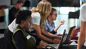 two students working during a Google IT support certificate class at Goodwill of Southwestern Pennsylvania
