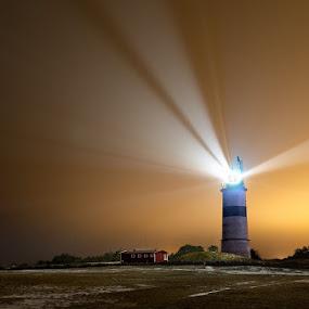 Night Light by Sergei Pitkevich - Landscapes Prairies, Meadows & Fields ( field, d800, lighthouse, night, nikon, light )