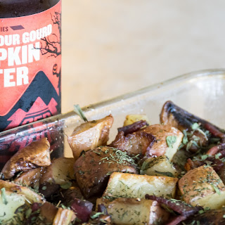Pumpkin Porter and Bacon Roasted Potatoes with Mushrooms