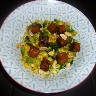 Brussel Sprout, Tofu and Udon Noodle Salad with a Miso Dressing Recipe