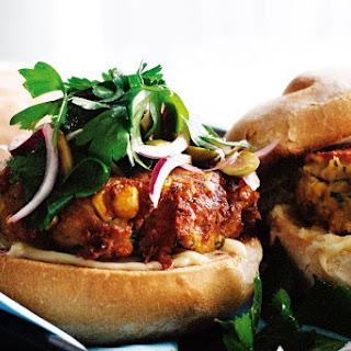 Tuna and Corn Burgers with Olive and Parsley Salad Recipe