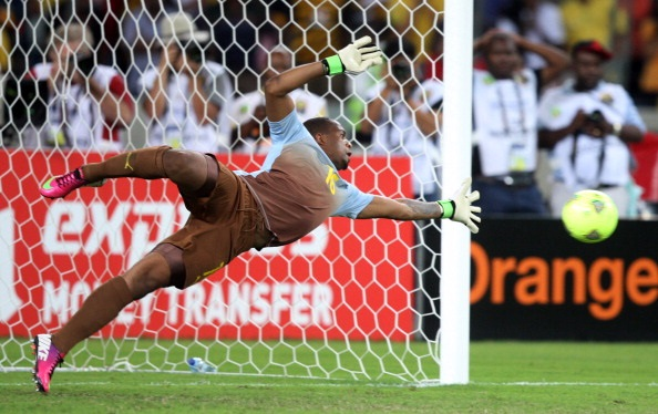 Itumeleng Khune G/K of South Africa during the 2013 African Cup of Nations .