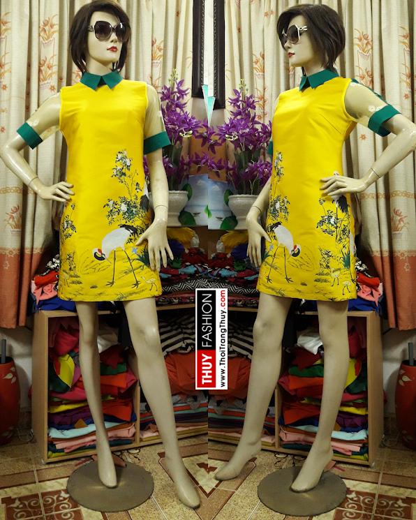 Váy suông cổ sơ mi họa tiết con cò vàng V394 thời trang thủy