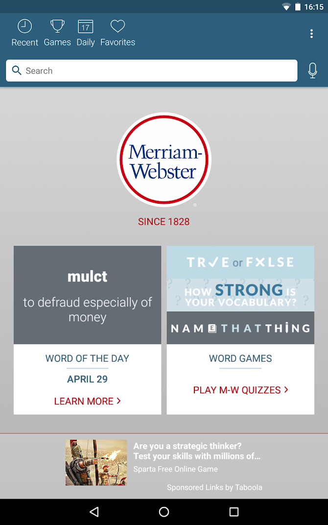 Dictionary - Merriam-Webster Android 10