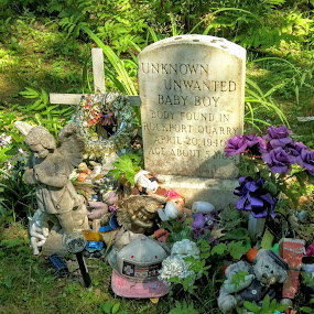 unknkown, unwanted, unbelievable by Moe Cusick - City,  Street & Park  Cemeteries ( maine, cemetary, headstone, buried, dead, rockport, baby boy,  )