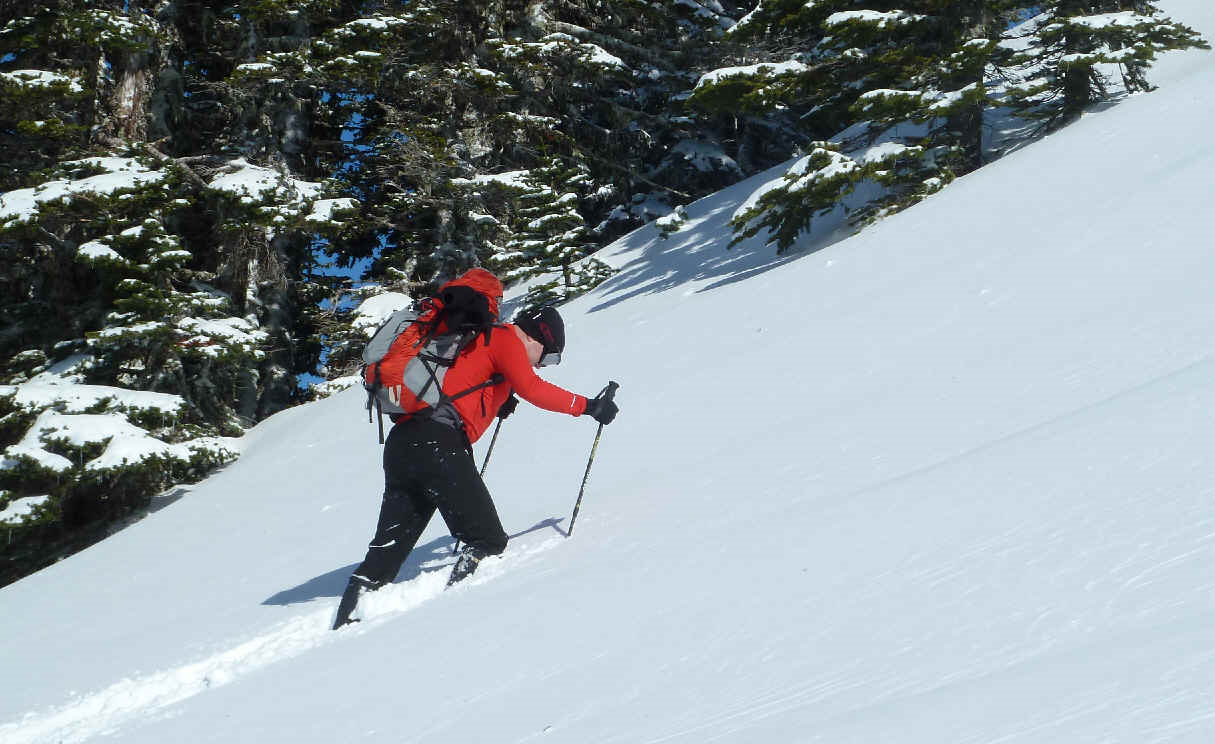Don snowshoeing up a mountain