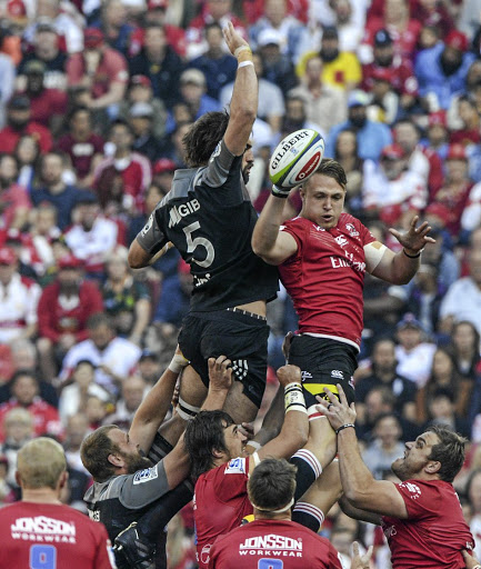 UK-bound? Ruan Ackermann wins the line-out ball against Crusaders captain Sam Whitelock in the Super Rugby final on Saturday. Unconfirmed reports suggest Ackermann is to follow his father to England and play for Gloucester. Picture: SYDNEY SESHIBEDI/GALLO IMAGES