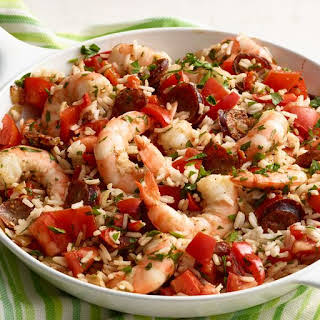 Skillet Shrimp, Sausage, and Rice.