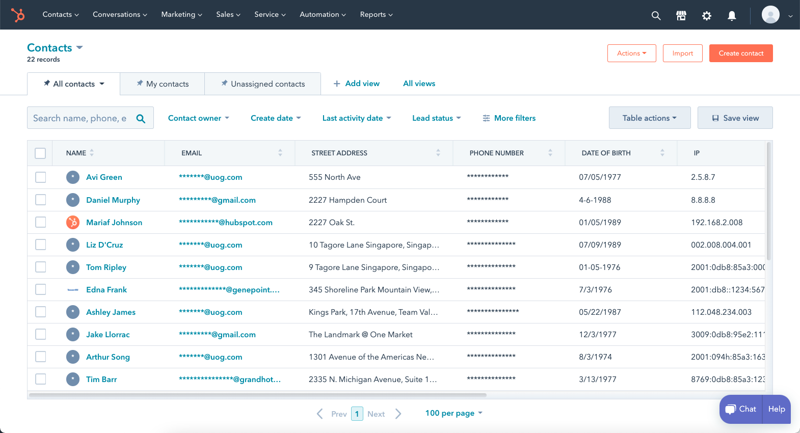 Contact Records View on HubSpot with Nullafi Rules