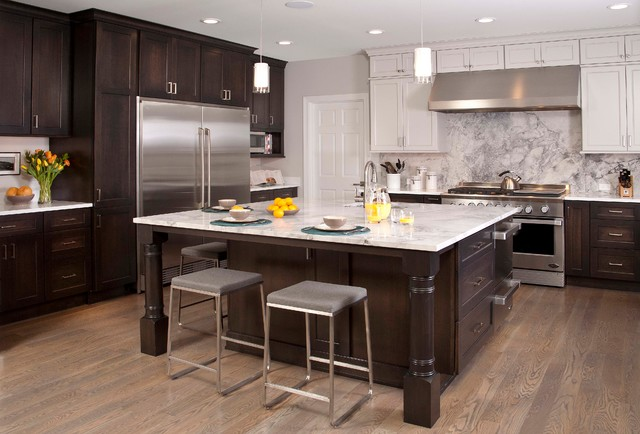 contemporary brown and white kitchen with large center island and marble backsplash