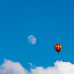 Chasing the Moon by Greg Croasdill - Transportation Other ( hot air balloon, moon, sky, summer, balloon, baloonfest )