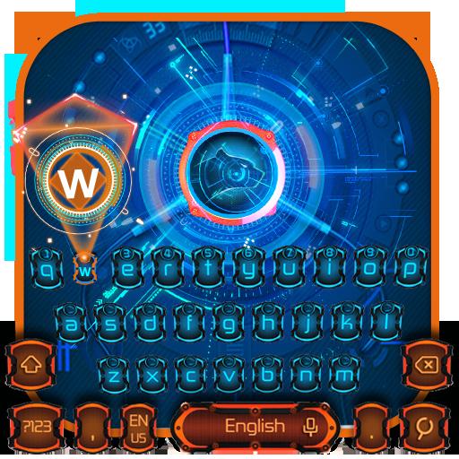 Orange Blue Tech Keyboard
