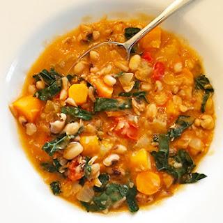Longevity Ikarian Stew with Black Eyed Peas and Kale.