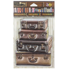 7 Gypsies Architextures Treasures Adhesive Embellishments - Leather Suitcases